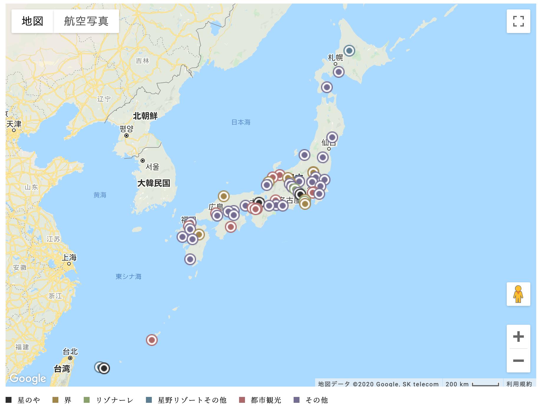 星野リゾート物件ポートフォリオマップ