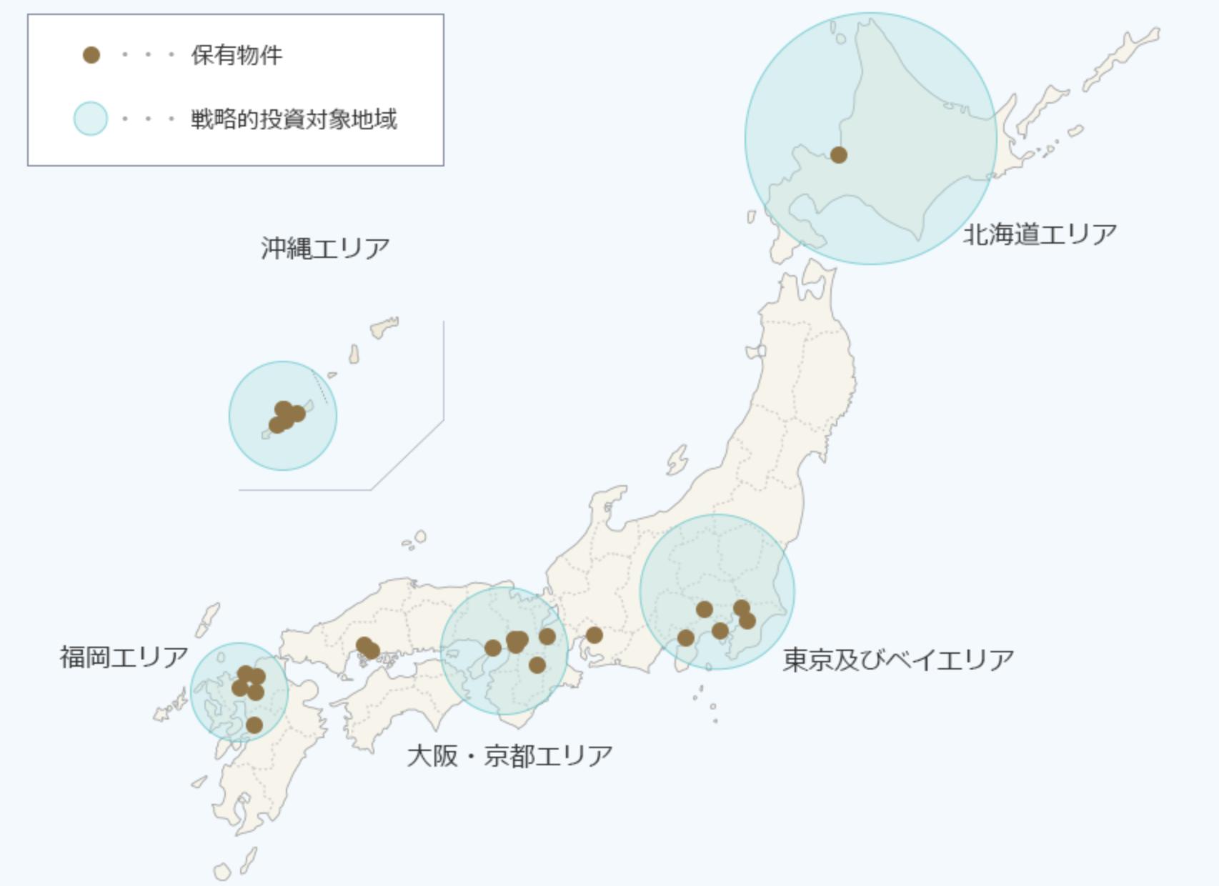 JHRの物件エリアポートフォリオマップ